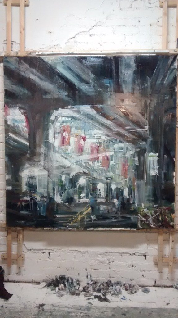 Leanne Christie painting in Progress under the Viaducts