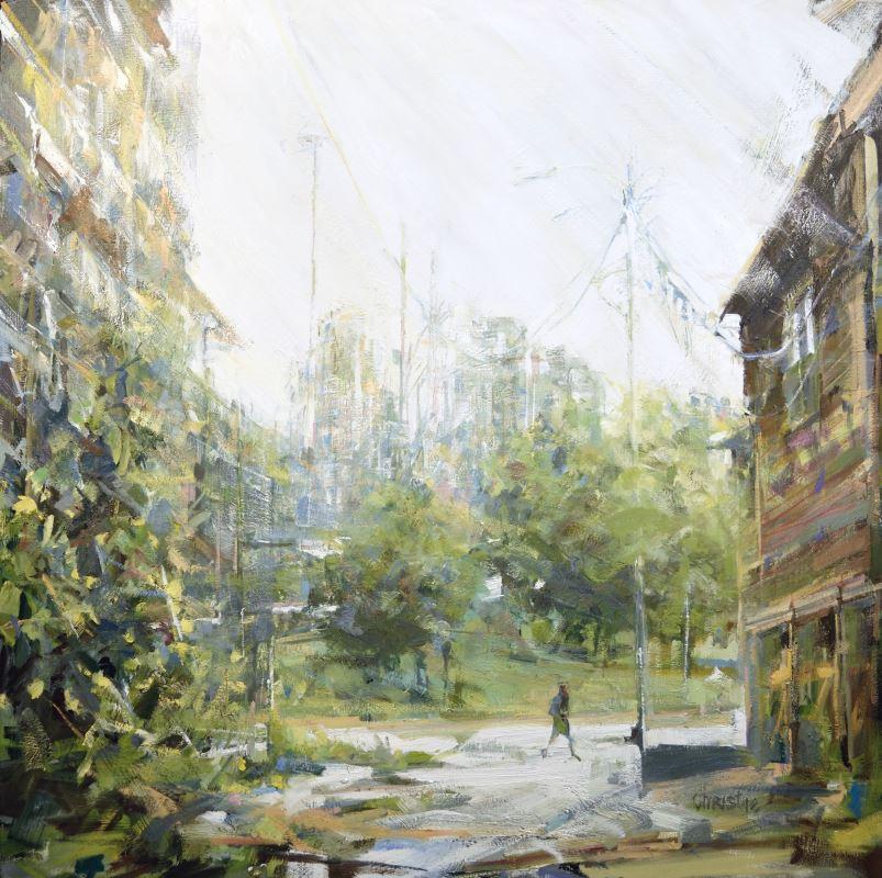Christie original urban oil painting in alley