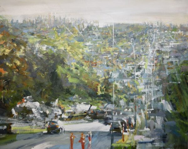 urban oil painting of Vancouver looking south along Boundary