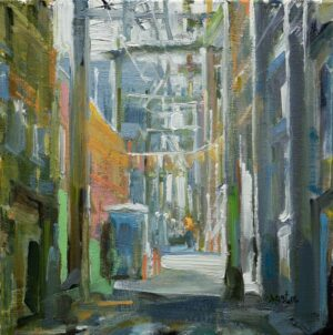 Leanne M Christie oil painting of Urban Alley with construction