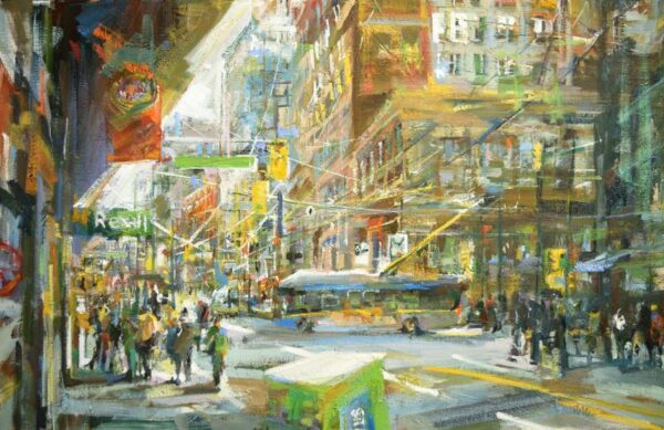 Urban oil painting of Vancouver downtown with warm colours and signage