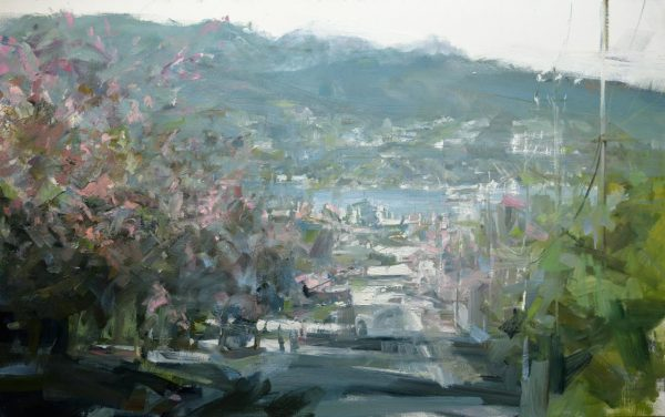 Leanne M Christie oil painting of mountains and street with Cherry Blossoms