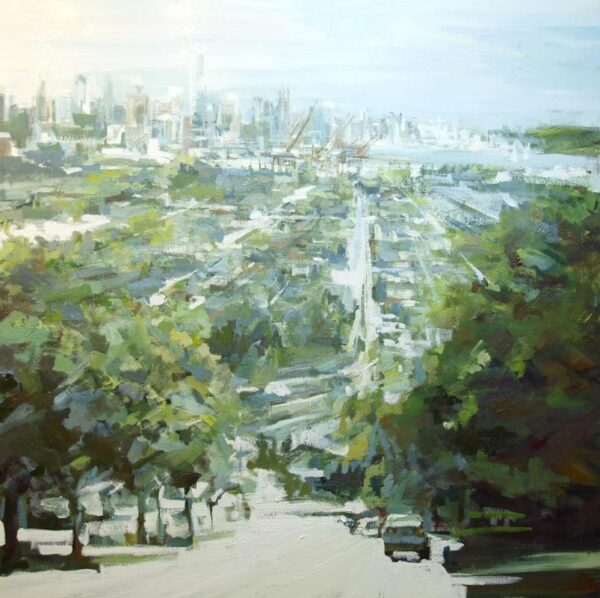Oil painting of city and streets from a distance by Leanne M Christie