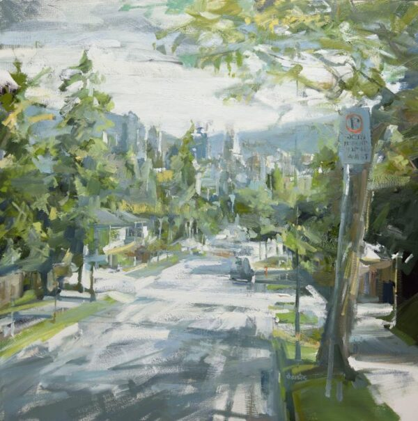 Urban oil painting by Leanne M Christie of Vancouver street looking north