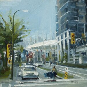 Urban oil painting person pushing a shopping cart at science world