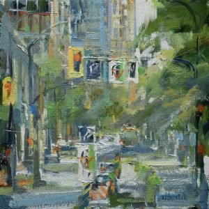 Urban oil Painting. Leanne M Christie Downtown Vancouver