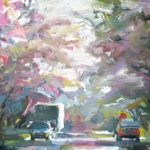 Cherry blossom painting with trucks and cars by Painter leanne m christie