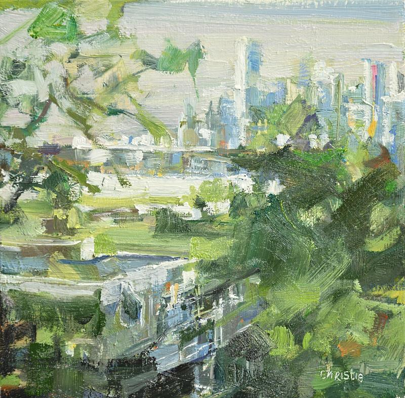 Green and blue painting of downtown Vancouver with trees
