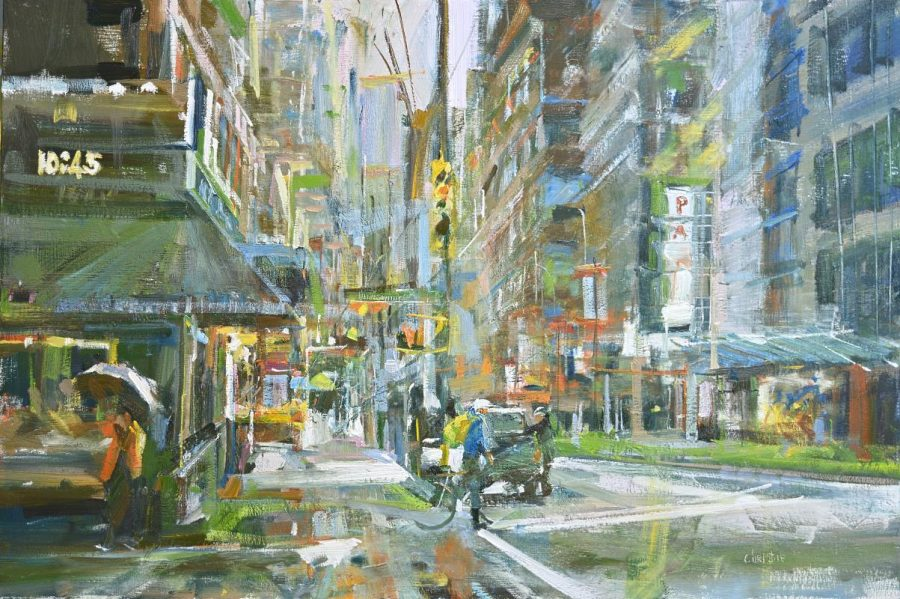 Leanne M Christie oil painting of Vancouver in the rain