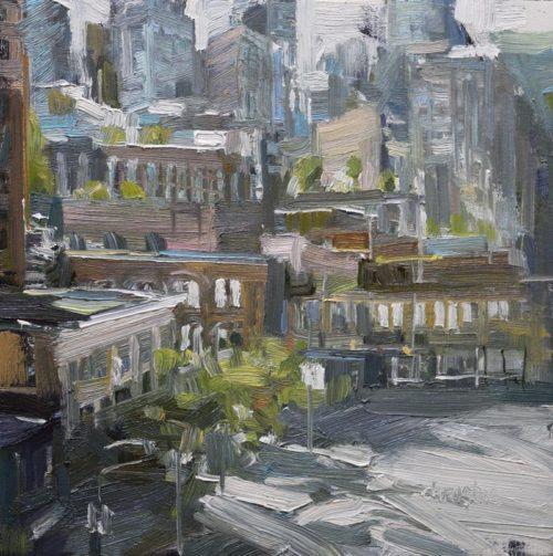 Leanne M Christie original painting of urban Vancouver