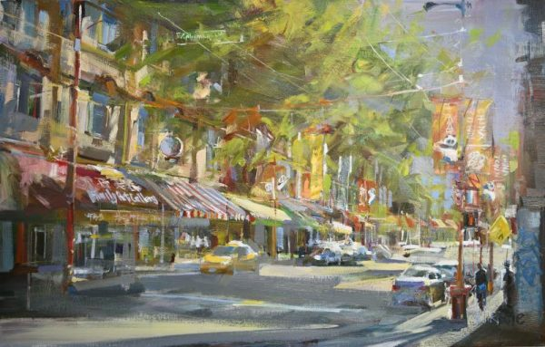 original oil painting Vancouver's China Town