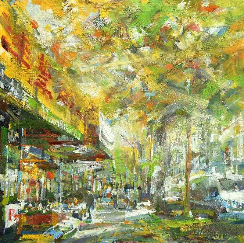 Oil painting of Vancouver's Main street in China Town with yellow