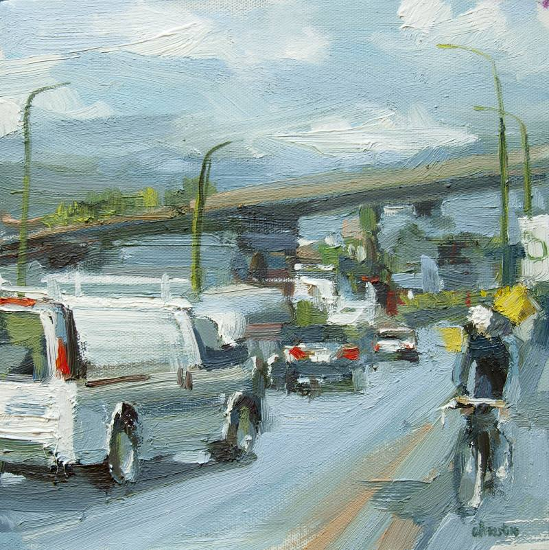 oil painting of a cyclist in front of a white van