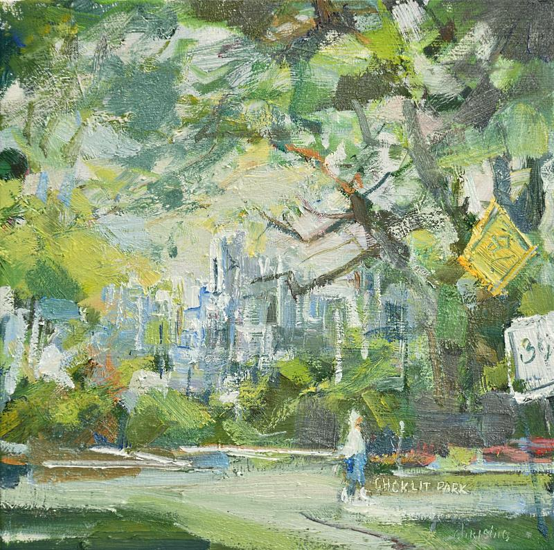 small urban oil painting of person walking choklit park vancouver