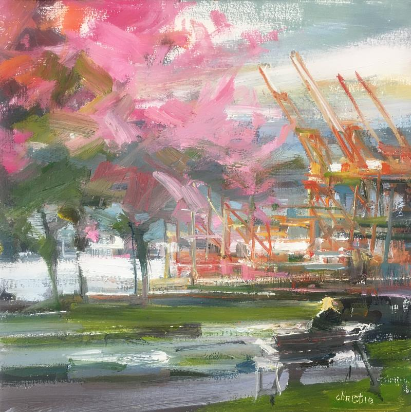 Original oil painting of Vancouver Port with Cherry Blossoms