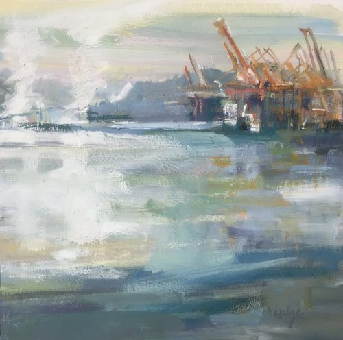 Vancouver ports painting with orange Gantries by Leanne M Christie