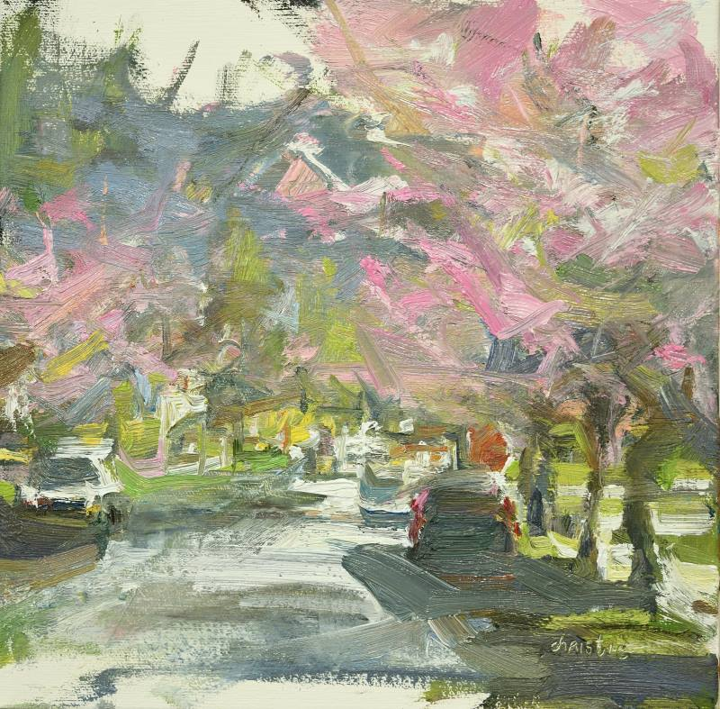 Leanne M Christie cherry blossoms with street