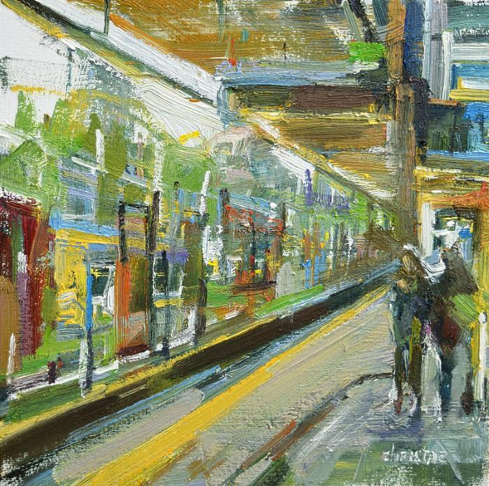 painting of people waiting at Lougheed station