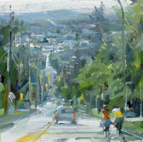Leanne M Christie painting of cyclists in Coquitlam