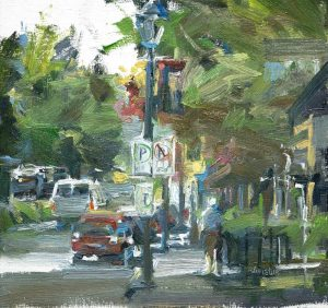 Original oil painting of Dundarave Village with person