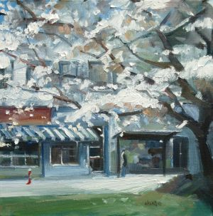 Leanne M Christie oil painting of Magnolia tree in Kitsilano