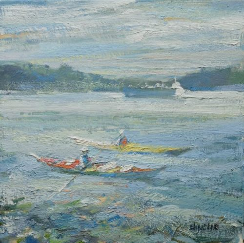 Leanne M Christie oil painting of 2 paddlers