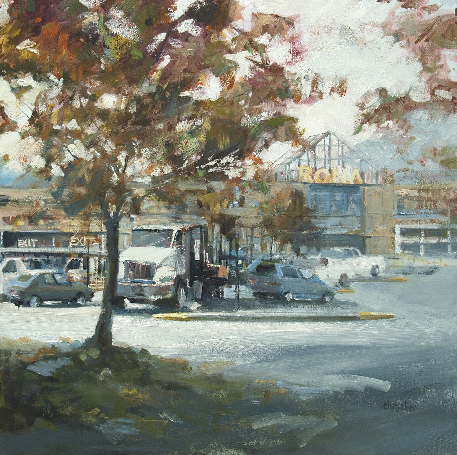 Leanne M Christie oil painting of white lorry in Vancouver BC