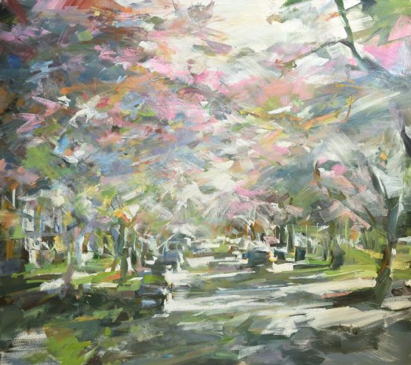 Large oil painting of Cherry Blossoms on an urban street