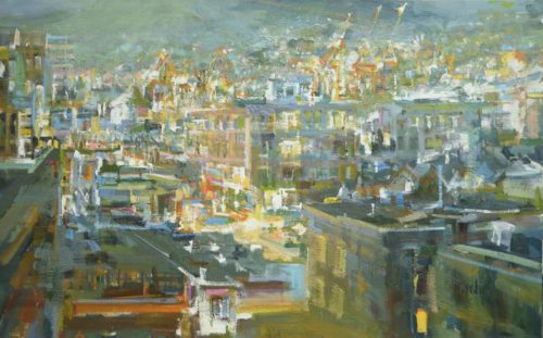 Leanne M Christie painting of Vancouver with Cranes