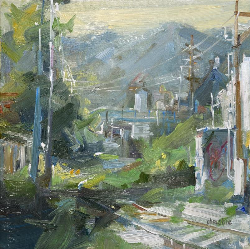 urban oil painting with train track and mountains