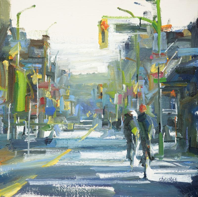 an original oil painting by Leanne M Christie of cyclists in New Westminster