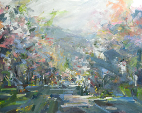 Urban oil painting of Cherry blossom trees, Vancouver