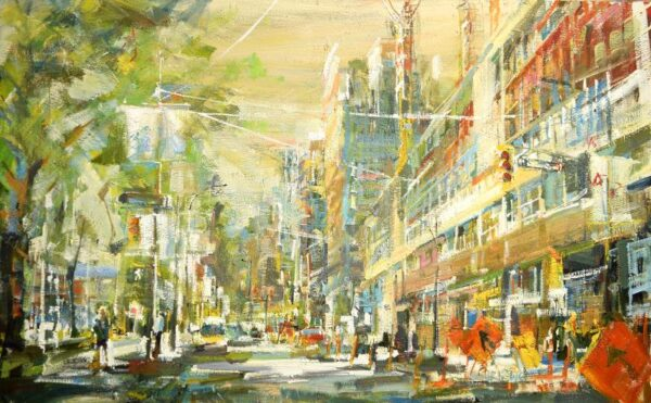 Urban oil painting downtown Vancouver with construction and yellow sky
